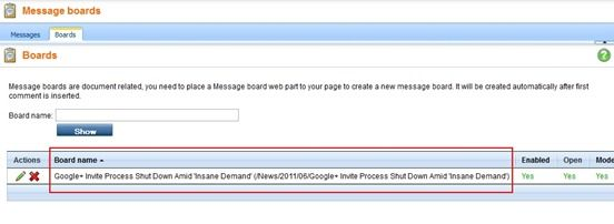 Kentico Message Board Admin