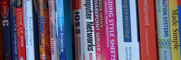 Books Shelf of Programming Books (Click for enlarged image)