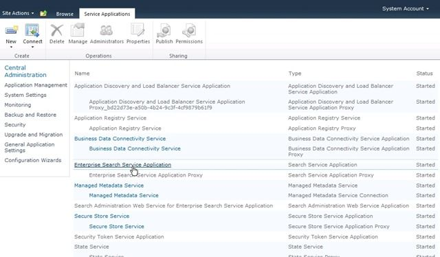 Manage Services Enterprise Search