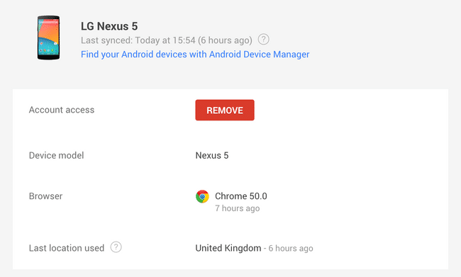 Disconnecting Nexus 5 from Google Account