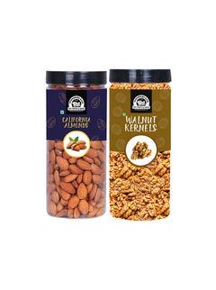 Wonderland Foods Almond 500g & Walnut kernel 350g Dry Fruits Combo - 850g (Jar)