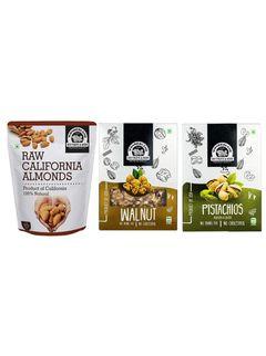 Wonderland Foods Dry Fruits Combo Pack of Almond (1kg), Walnut Kernels (200g), R&S Pistachio (200g)