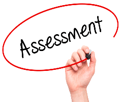 This is a picture with the word assessment circled