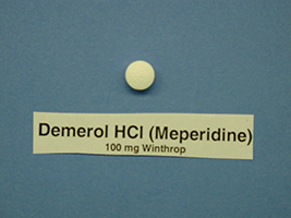 This is a picture of a Demerol tablet.