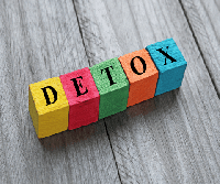 This is a picture with lettered blocs that spell detox