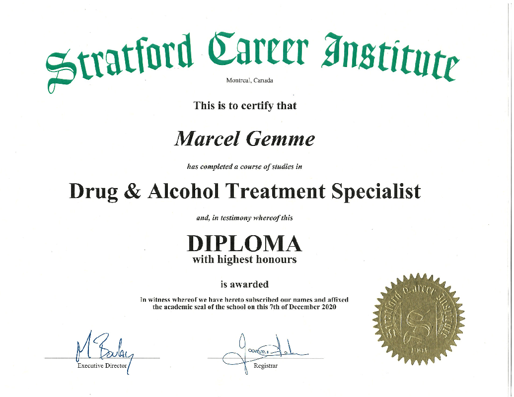 Marcel Gemme's Drug & Alcohol Treatment Specialist Certification