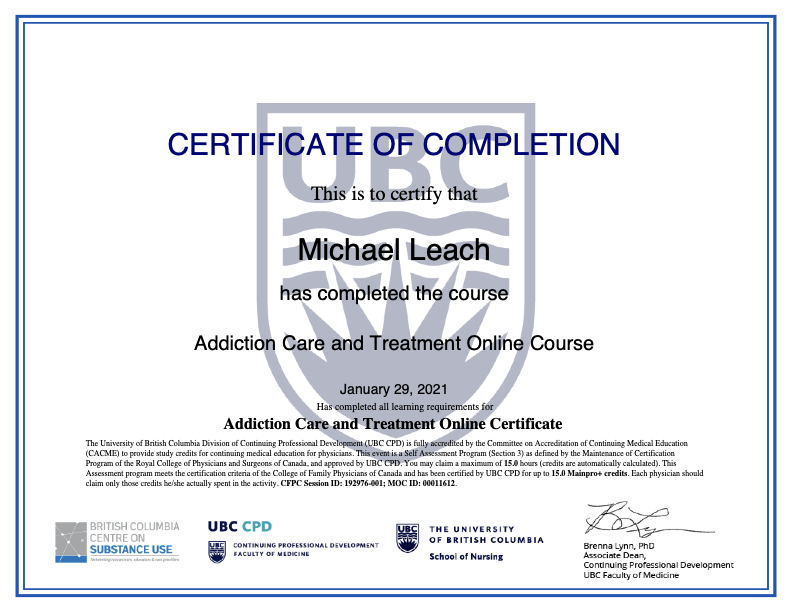 Michael Leach's Addiction Care and Treatment Online Certificate