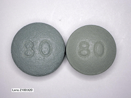 This a picture of 80 mg Oxycontin pills