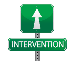 This is a picture oh the word Intervention with an arrow