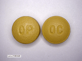 This is a picture of two gold 40 mg Oxycontin pills