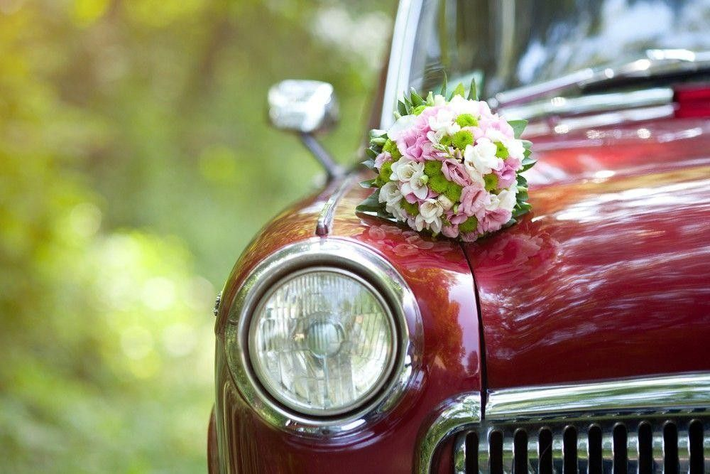 Decor on car with flowers