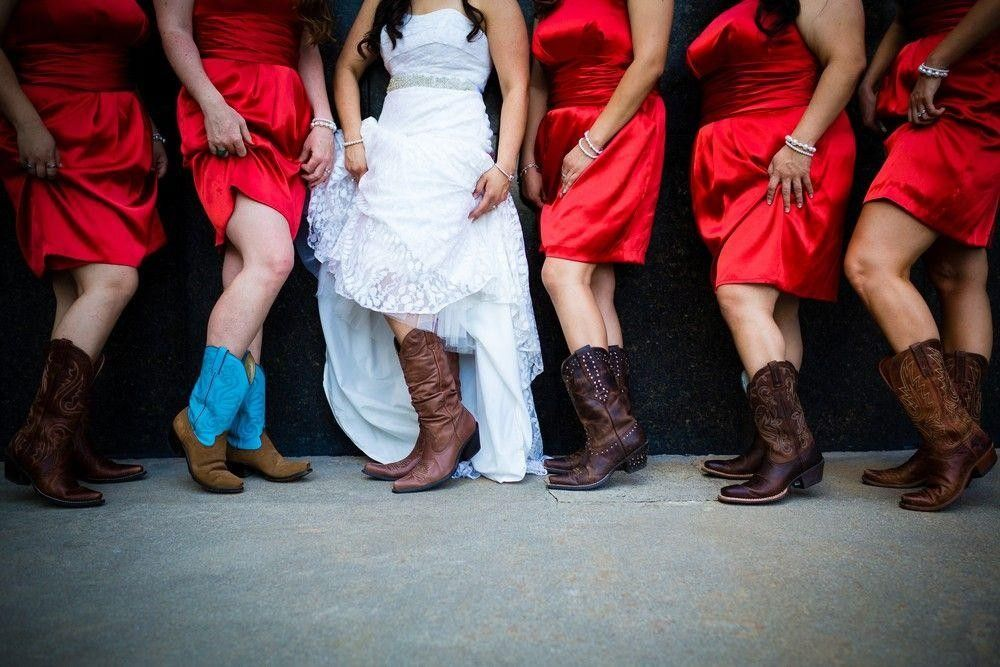 Bridesmaids in a red dress showing their legs