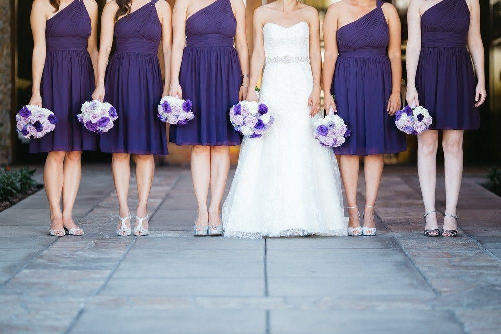 Bridesmaids in a purple dress