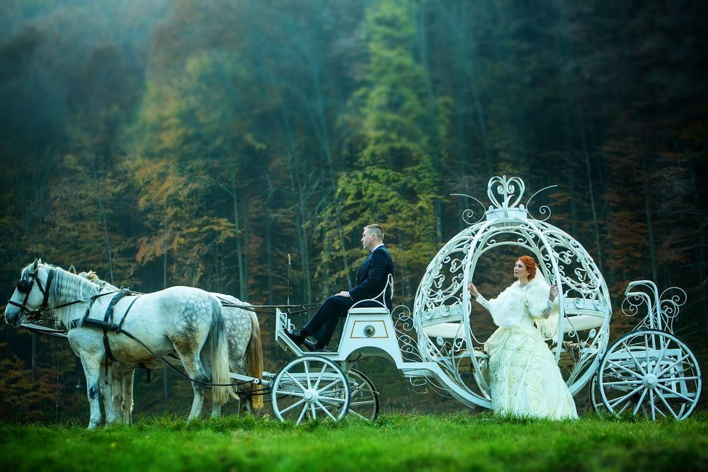 Bride in a white carriage