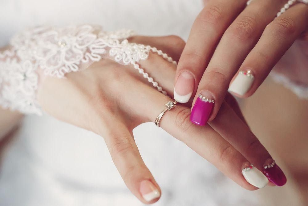 Nails with diamond on it