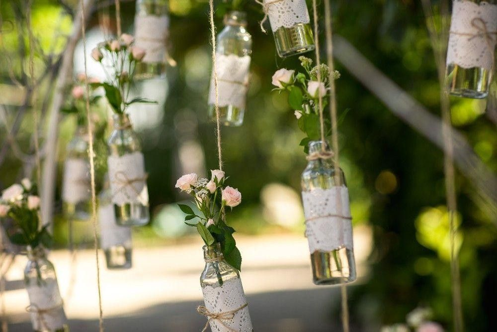 Bottles with flower decor