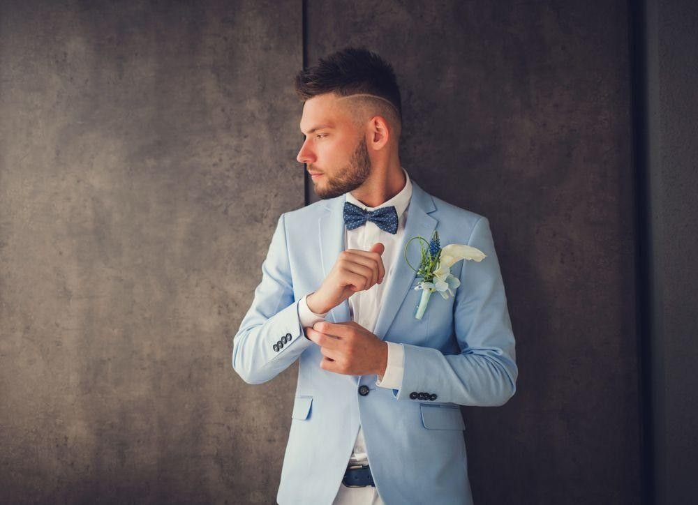 Groom with a blue suit