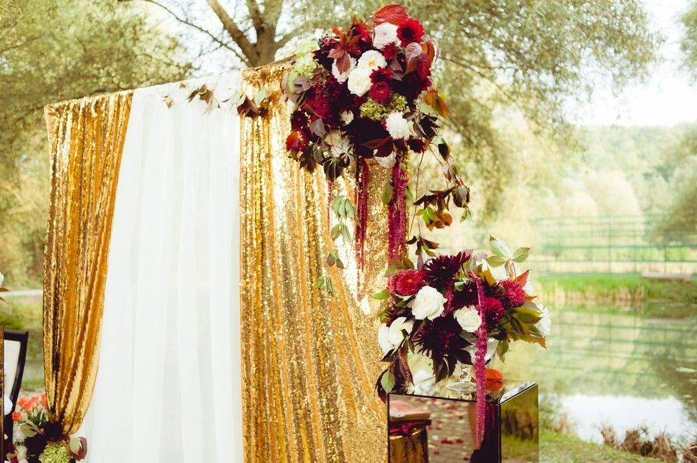 Drape decor with flowers