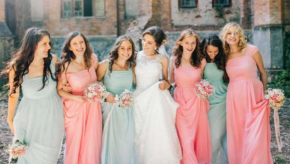 Bridesmaid with different colored dresses