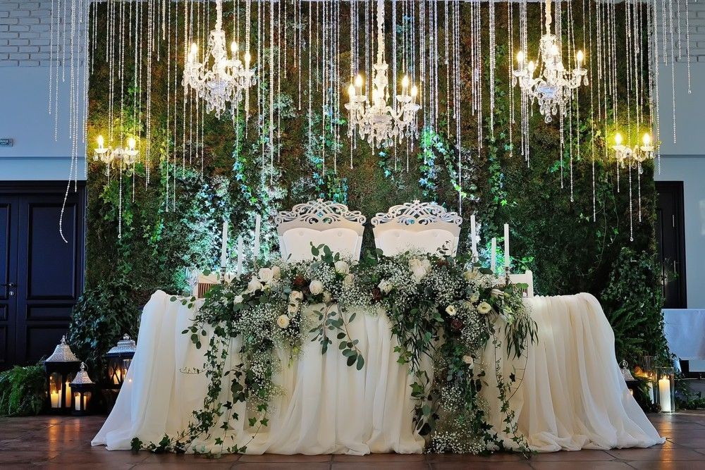 Wedding honor table with a flower arrangement