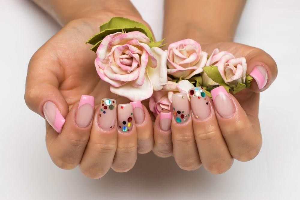 designed nails with flowers