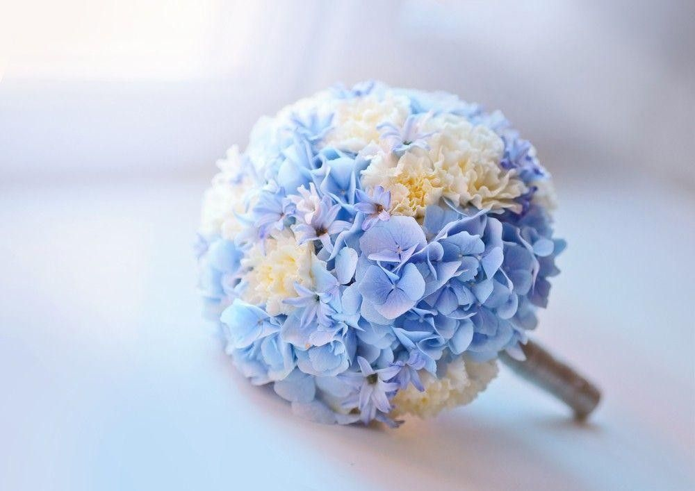 Blue bouquet on a table
