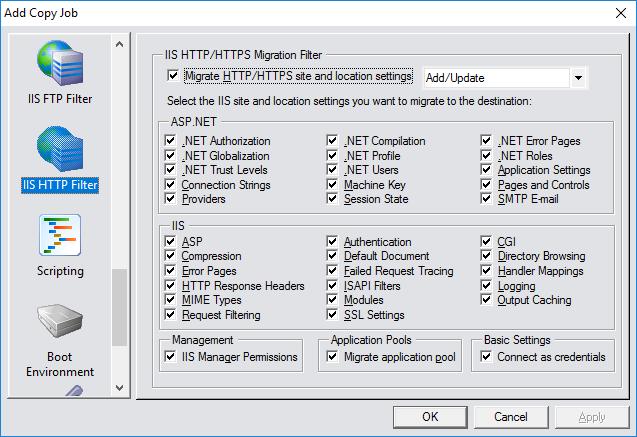 CopyRight2 HTTP(S) Server Migrationseinstellungen