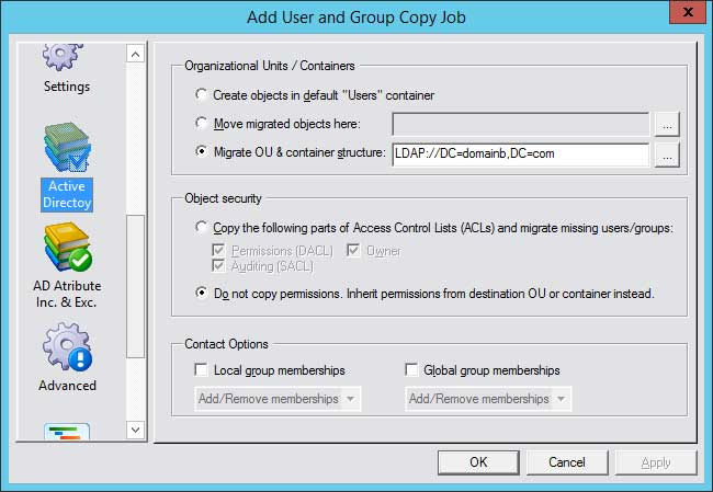CopyRight2 Active Directory OU Settings in High Resolution