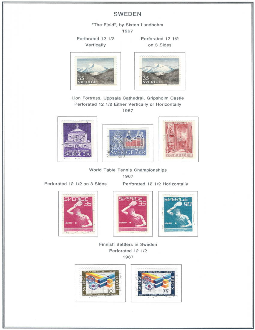 1967 Sweden Stamp sets on a hacked Steiner Album Page