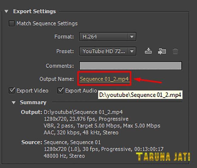 Cara Menyimpan File Video Di Adobe Premier dengan Format Untuk Youtube Terbaru