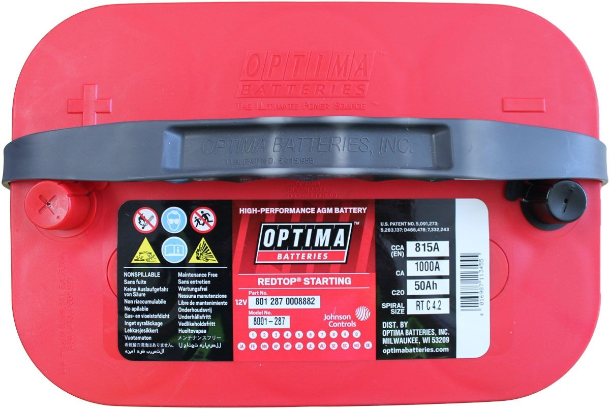 Optima Red Top Battery Rtc 4 2 8001 287 Bci 34 Rtc4 2 Agm