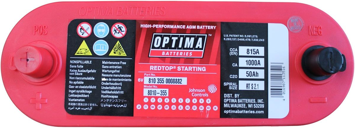 Optima Red Top Battery Rts 2 1 8010 355 Rts2 1 Agm