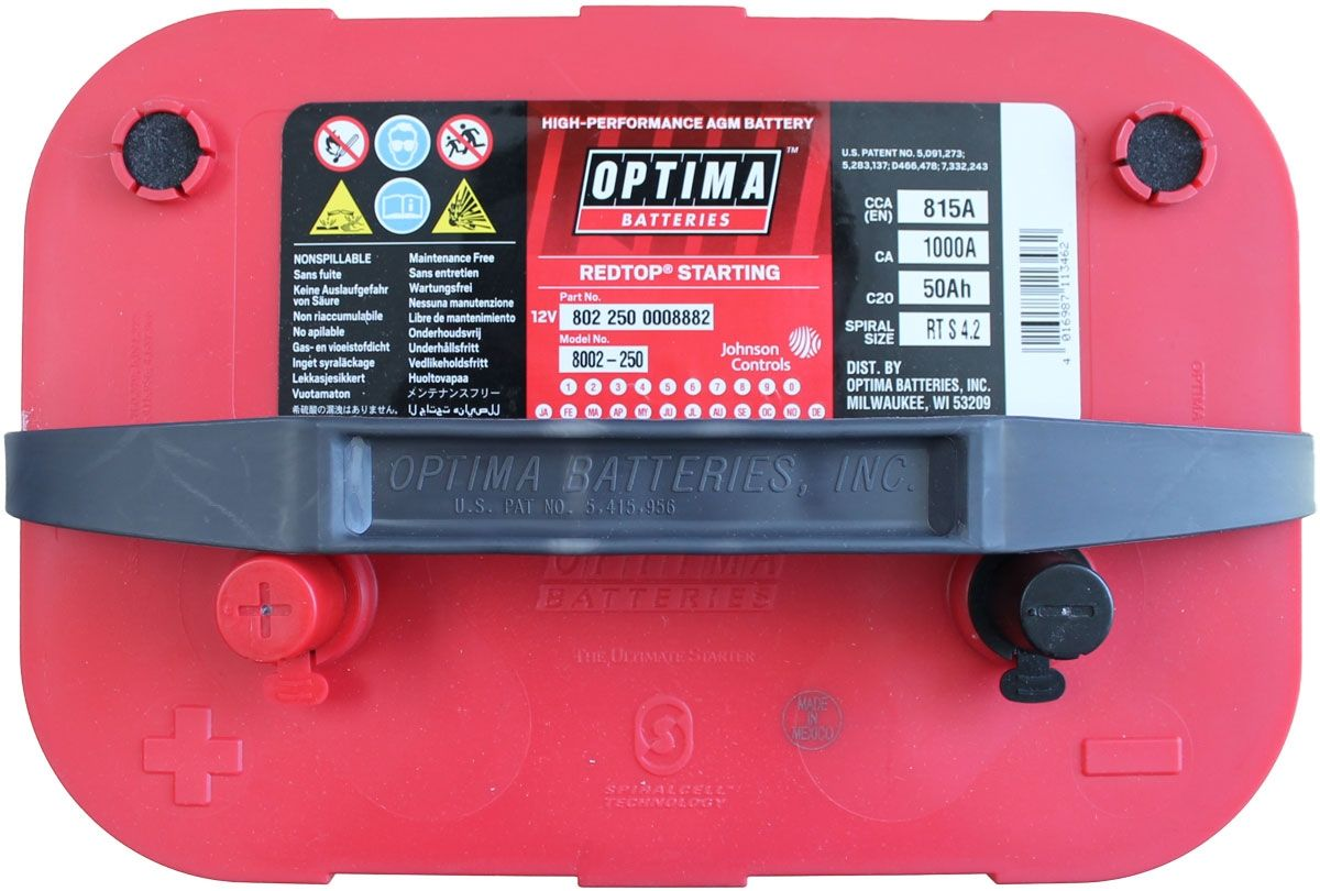 Optima Red Top Battery Rts 4 2 8002 250 Bci 34 Rts4 2 Agm