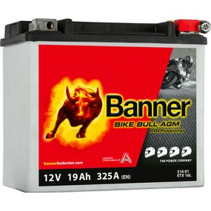 YTX16L-BS Compatible Banner Bike Bull AGM PROfessional Battery (51601)