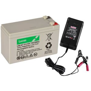 Lucas LSLA7-12 Battery and Automatic Battery Charger Combo