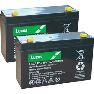 Pair of LSLA12-6 Lucas SLA Battery 6V 12Ah