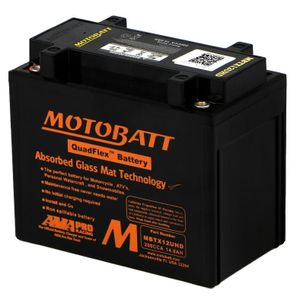 MBTX12UHD Black MOTOBATT Quadflex AGM Bike Battery 12V 14Ah