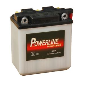 6N6-3B Powerline Motorcycle Battery 6V 5Ah 6N63B