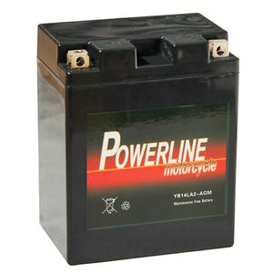 YB14L-A2 AGM Powerline Motorcycle Battery 12V 14Ah YB14LA2-AGM