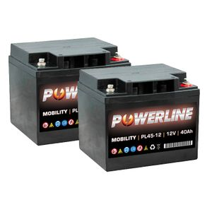 Pair of Powerline PL45-12 Mobility Batteries