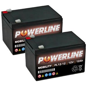 Pair of Powerline PL12-12 Mobility Batteries