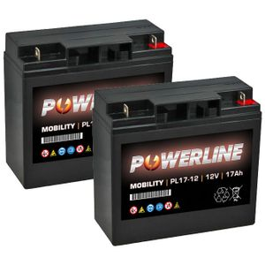 Pair of PL17-12 Powerline Mobility Battery 12V 17Ah