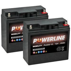 Pair of PLC22-12 Powerline Mobility Battery 12V 20Ah