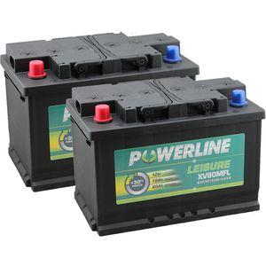 Pair of XV80MFL Powerline Leisure Battery 12V (Positive Front Left)