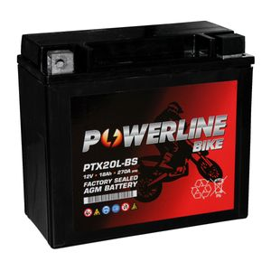PTX20L-BS AGM Powerline Motorcycle Battery 12V 18Ah