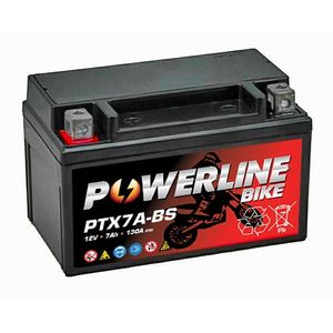 PTX7A-BS Powerline Motorcycle Battery 12V 7Ah