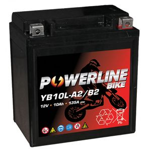 YB10L-A2 AGM Powerline Motorcycle Battery 12V 10Ah YB10LA2