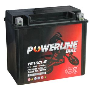 YB16CL-B AGM Powerline Motorcycle Battery 12V 22Ah YB16CLB AGM