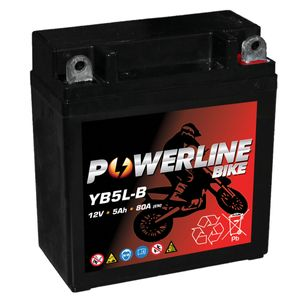 YB5L-B AGM Powerline Motorcycle Battery 12V 5Ah YB5LB