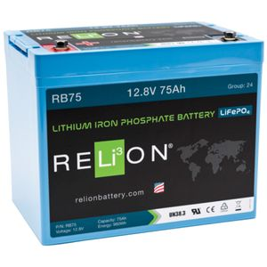 Relion RB75 Lithium Leisure Battery 12V 75Ah